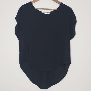 Black XS chiffon short sleeve blouse v-neck